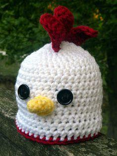 Crochet Hats Patterns Free Crochet Hen Hat Pattern by AshTree Crochet Crochet Animal Hats, Crochet Kids Hats, Crochet Beanie, Crochet Gifts, Love Crochet, Crochet Hooks, Knit Crochet, Learn Crochet, Crocheted Hats