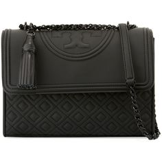 Tory Burch Fleming Matte Rubber Shoulder Bag (1.495 BRL) ❤ liked on Polyvore featuring bags, handbags, shoulder bags, black, tassel handbags, quilted chain handbag, shoulder bag purse, quilted chain purse and chain purse