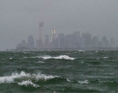 NYC. A pinner says: Hurricane Sandy hits New York City  The water surrounding New York City looks ominous and vicious in the hours leading up to the landfall of Hurricane Sandy on Oct. 29, 2012.