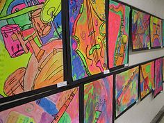 Jazz: listen to music, draw instruments with Sharpies, paint with fluorescent paint -- view under black light.