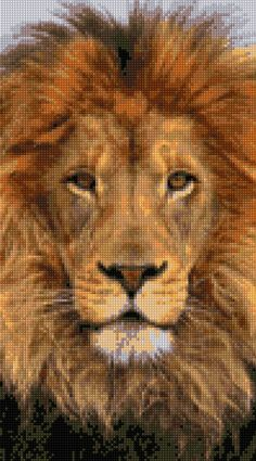 Majestic Lion Cross Stitch pattern PDF-EASY chart with one color per sheet And traditional chart! Two charts in one! by HeritageChart on Etsy