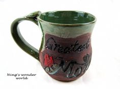 Personalized coffee mug green pottery mug by Ningswonderworld, $27.00