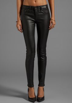 RAG & BONE/JEAN The Leather Skinny in Black