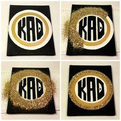 DIY Kappa Alpha Theta glitter monogram!