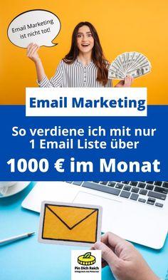 Geld verdienen mit E-Mail Marketing. So baust du dir eine Email Liste auf und generierst Geld mit deine Email Liste. Die besten Methoden, wie du dir eine E-Mail Liste aufbaust. Mit der E-Mail Liste und E-Mail Marketing kannst du sehr gutes Geld verdienen. Nicht umsonst sagt man in der Liste liegt das Geld. Mit E-Mail Marketing kannst du dir ein gutes passives Einkommen aufbauen und immer wieder neues Geld verdienen. Geld im Internet verdienen, passives Einkommen. E-mail Marketing, Tricks, German, Social Media, Ads, Facebook, Make Money On Internet, Passive Income, Blogging