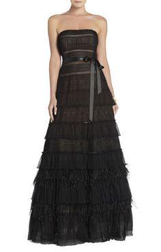 Elise Point d'Esprit Feather-Trimmed Dress | BCBG