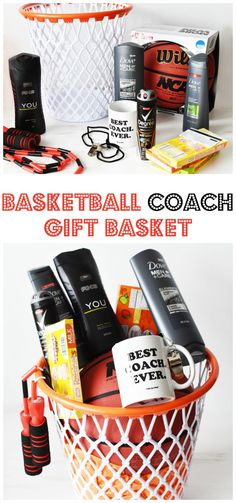 The BEST DIY Basketball Coach Themed Gift Basket They will LOVE! Have a special basketball coach in your life? Consider making a gift basket that is basketball themed! Perfect gift for team members to pitch in and pay for! Themed Gift Baskets, Diy Gift Baskets, Christmas Gift Baskets, Basketball Gifts, Basketball Coach, Sports Gifts, Basketball Finals, Basketball Rules, Boyfriend Gift Basket