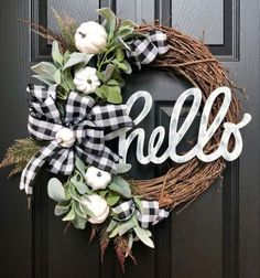Excited to share this item from my shop: Buffalo Check Pumpkin Hello Wreath Buffalo Plaid Fall Wreath Holiday Wreaths, Holiday Decor, Autumn Wreaths For Front Door, Fall Burlap Wreaths For Front Door, Autum Wreaths, Thanksgiving Wreaths, Fall Crafts, Diy Crafts, Diy Wreath
