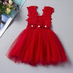 Sale 22% (19.99$) - Kid Girls Lace Crochet Patchwork Sleeveless Princess Dresses