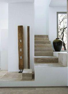 simple stone floor, greys & whites. mediterranean interior: