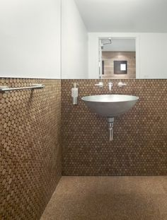 Bathroom Is Fitted With Cork Flooring, And Cork Penny Tile On The Walls   Stunning