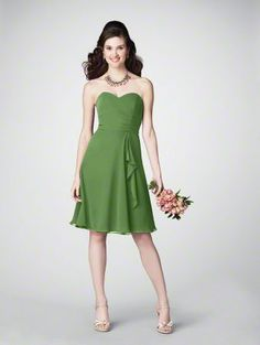 Chiffon strapless dress cocktail length in forest green