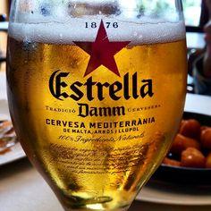 Estrella Damm is one of the symbols of Barcelona, like Sagrada Familia :) Malta, Barcelona Food, Wine Glass, Symbols, Vases, Sagrada Familia, Ale, Malt Beer, Glyphs
