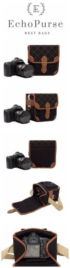 Handmade PU Leather DSLR Camera Bag, Light Grey SLR Camera Case 118