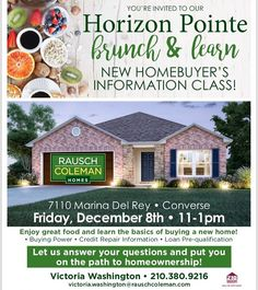 Excited to announce my 1st Event wit Saturday, Dec 9th 11-1 📍7110 Marina Del Rey, Converse,TX New 🏡 Homebuyers Info Seminar ✅ Event is FREE ✅  Save your seat and RSVP Today!  Akil Robinson 510-393-5932  Victoria Washington 210-380-9216 *Please note: Date on the flyer is incorrect . . #firsttimehomebuyer #events #seminar #learning #teaching #educate #purchase #realestate #purchasepower #realtorlife #rauschcolemanhomes #newhome #knowledgeispower #knowledge #power #success #believeinyourself…