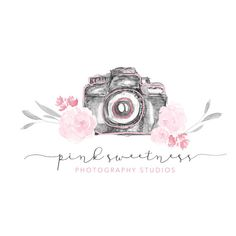 Premade Rustic Camera Logo Design//Watercolor Flower Logo// Photography Logo//Small Business Logo