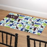 Menagerie Monogram Personalized Fabric Throw Rug eInvite Gifts Throw Rugs from Checkerboard available to order from Note Worthy