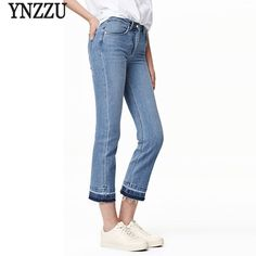 27.20$  Watch here - http://aiold.worlditems.win/all/product.php?id=32789189029 - YNZZU 2017 Spring New Women Jeans Light Blue High Waist Flare Pants Ankle Length Slim Jeans Demin Pants Trousers Plus Size YB059
