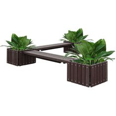 Recycled Plastic Bench with Three Planters