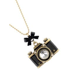 Betsey Johnson Black Large Camera Long Necklace (€51) ❤ liked on Polyvore featuring jewelry, necklaces, accessories, black, betsey johnson jewelry, black bow necklace, black jewelry, black jet necklace and long bow necklace