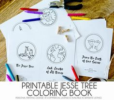 This listing is for a **digital download** of The Jesse Tree Coloring Book and a standard printing license. (A commercial printing license for churches and schools is available in a separate listing for $35) The Jesse Tree Coloring Book includes 25 hand drawn illustrations with a