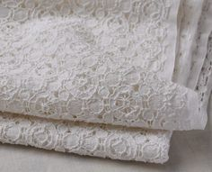 Off-white Cotton Lace Fabric Hollow Round Flower Embroidery Wedding Dress Lace