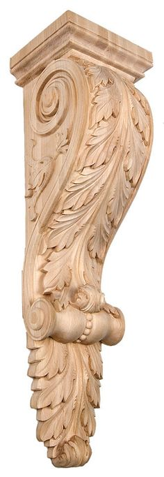 """Corbel with Acanthus Leaf / Medium / 12""""H X 3-5/8""""W X 3-1/4""""D - modern corbels, contemporary corbels, wood carved animals, embossed wood carvings, kitchen island corbels   Corbel Place"""