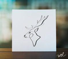 Deer Wall Art Animal Calligraphy Print Contour Line Art