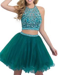 LovingDress Womens Halter Homecoming Dress Two-Piece Bead...