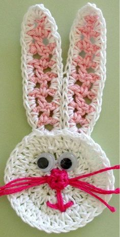 Maggie's Crochet · Easter Basket Applique - Bunny Face #crochet #pattern #Easter #bunny #cute  #colorful #decor #festive #applique