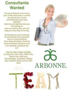 If you live in the USA, UK, Canada, Australia or Poland! Consultants wanted for Arbonne International. check out my website www.chantallevy.arbonne.ca