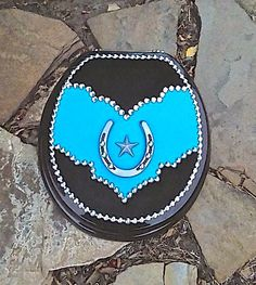 Western Leather and Cowhide Cowgirl Bling Toilet by RusternDesign Western Baths, Dark Chocolate Brown Hair, Brass Hinges, Cowgirl Bling, Crystal Nails, Turquoise Rings, Silver Stars, Native American Jewelry, Ring Earrings