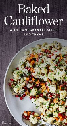 Baked Cauliflower with Pomegranate Seeds and Thyme via @PureWow