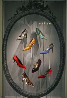 Queen's Jubilee display of shoes at Harrods, London. #shoe_display
