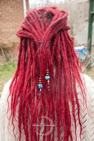 Red dreads with turquoise beads