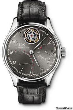 Limited Edition IWC Portuguese Tourbillon Mystere Retrograde $119,675 #IWC #watch #watches #chronograph 44.2 mm platinum case, sapphire-glass back