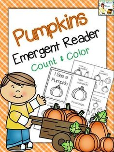This pumpkin emergent reader is a great addition to any fall/pumpkin/Halloween unit. Students practice counting, writing numbers reading color words, and coloring. Print the pages, cut, and staple together for a cute take home book! Kindergarten Literacy, Classroom Activities, Preschool Ideas, Fall Preschool, Halloween Activities, Holiday Activities, Thanksgiving Activities, Classroom Freebies, Classroom Ideas