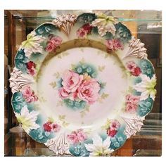 "RS Prussia Antique Porcelain Large Charger 12"" Art Nouveau Victorian 1900s R S Prussia Cake Plate Platter Rare Large Size RS Prussia Germany ($249) found on Polyvore featuring home, kitchen & dining and serveware"