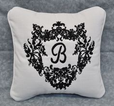 Monogrammed Embroidered Pillow Made w White Linen Like Fabric 12x12 Self Cord | eBay