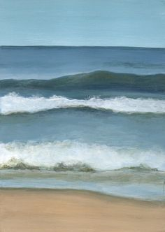 Small Acrylic Painting, Original Painting Landscape, Seascape on Wood Panel, Beach Home Decor