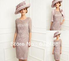 Fashion Sheath/Column Jewel Knee Length Beading Lace With Jacket Mother of the Bride Dresses Custom