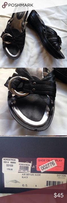 Cole Haan Air Brylee slides Cole Haan Air Brylee slides, black leather with silver buckle, worn once, in box Cole Haan Shoes Sandals