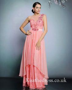 Hot Pink Lace Chiffon Backless Long Prom Dress DLQ31226
