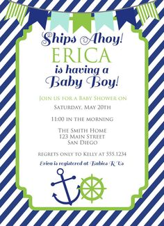 Nautical Baby Shower Invitation Nautical by CarouselPrintables