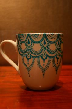 Hand Painted Porcelain Mug with Blue Moroccan by VerlindaAndWilcox, $30.00
