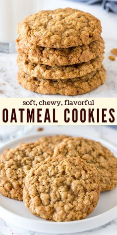 These chewy oatmeal cookies are soft, packed with texture, and have a delicious caramel flavor with a hint of cinnamon. The cookie dough comes together in under 15 minutes, and you don't have to chill the dough. recipe from Just So Tasty Healthy Oatmeal Cookies, Oatmeal Cookie Recipes, Oatmeal Chocolate Chip Cookies, Easy Cookie Recipes, Baking Recipes, Dessert Recipes, Soft Chewy Oatmeal Cookies, Oatmeal Cookies With Applesauce, Health Desserts