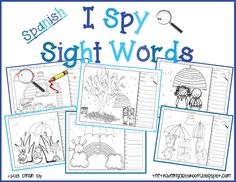 I Spy Sight Words in Spanish!  What fun activities for reading and writing!