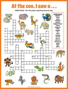 Review vocabulary and spelling for zoo animals with this super fun crossword worksheet.  Each clue in the puzzle is a colorful image - puzzlers must fill the name of the critter in the image.  The worksheet comes in two versions: one with a word bank (good for beginners) and the other without (good for more advanced students).The 20 vocabulary words included are: alligator, bison, camel, elephant, giraffe, hippopotamus, hyena, kangaroo, koala, leopard, lion, lizard, monkey, ostrich, parrot…