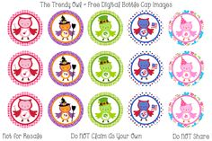 Holiday Owls <3 Retired images uploaded as freebies! Enjoy! ~ FREE Digital Bottle Cap Images!! https://www.facebook.com/thetrendyowlUS http://www.thetrendyowl.com