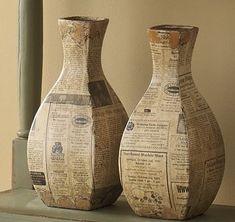newspaper vases-- more papier mache! Paper Mache Projects, Paper Mache Crafts, Cardboard Crafts, Bottle Art, Bottle Crafts, Paper Vase, Diy Papier, Newspaper Crafts, Cardboard Furniture